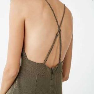 Forever 21 Olive Jumpsuit Plunge Strappy M NWT